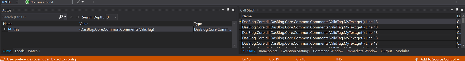 Visual Studio Call Stack