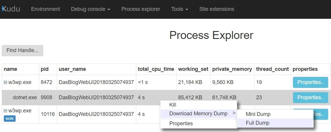 Kudu Process Explorer in Azure