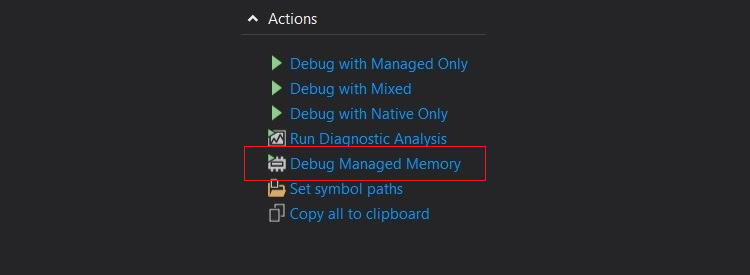 vs-dump-summary-page-actions