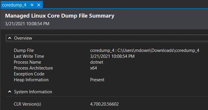 Linux core dump open in Visual Studio