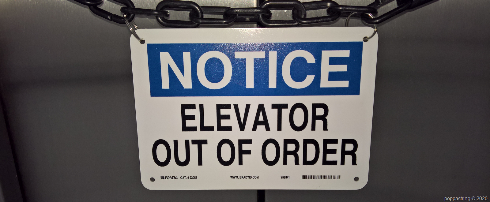 Notive elevator out of order