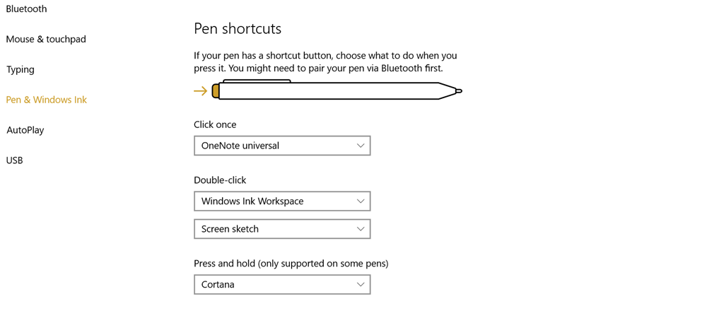 Windows Pen Shortcuts