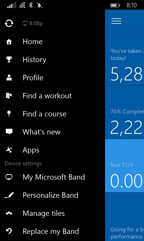 Microsoft Health App (Main Menu)