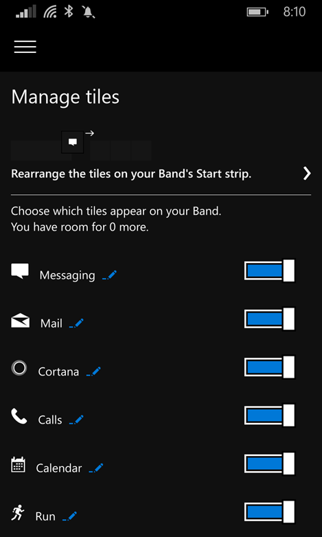 Microsoft Health App (Managing Tiles)