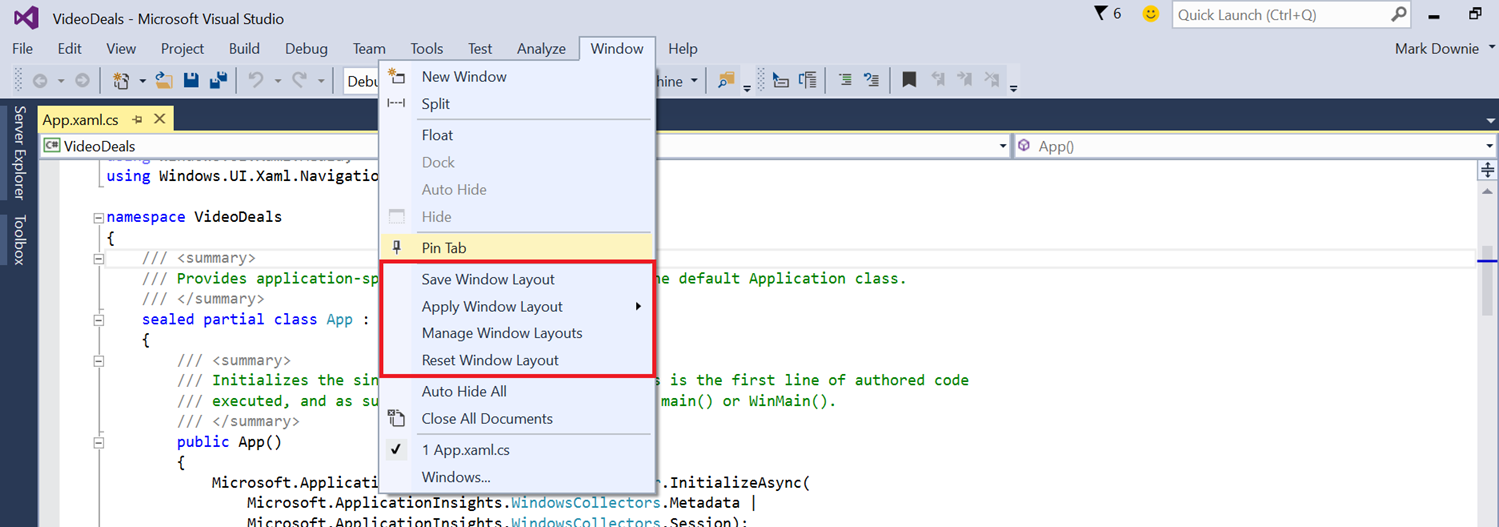 Visual Studio 2015 Window Layout
