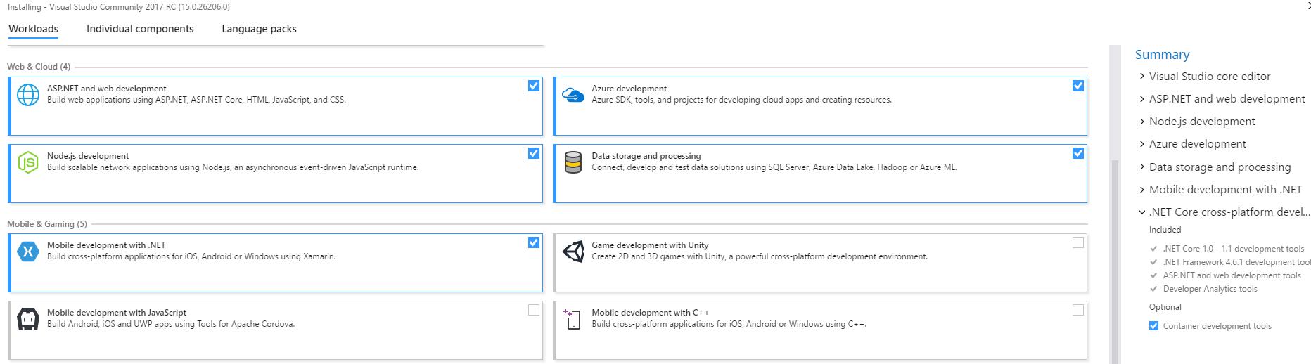 Visual Studio 2017 Install - Workloads