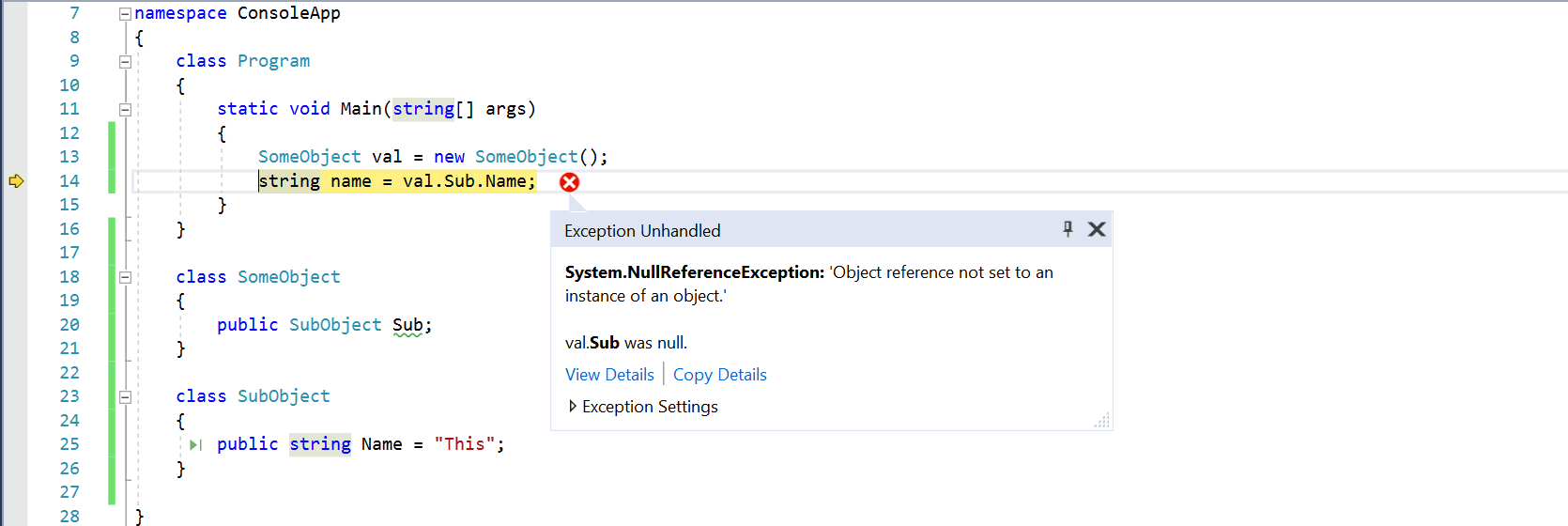 Visual Studio 2017 Exception handling